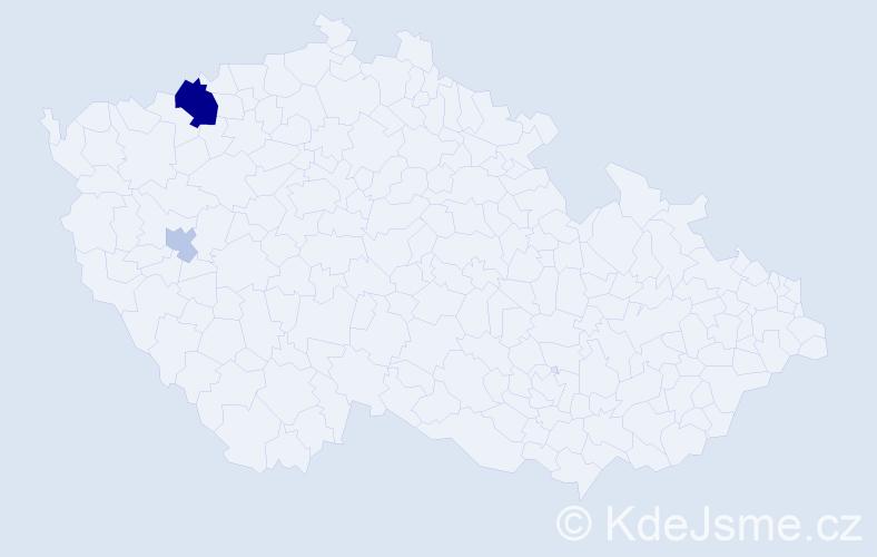 Příjmení: 'Kombrza', počet výskytů 6 v celé ČR