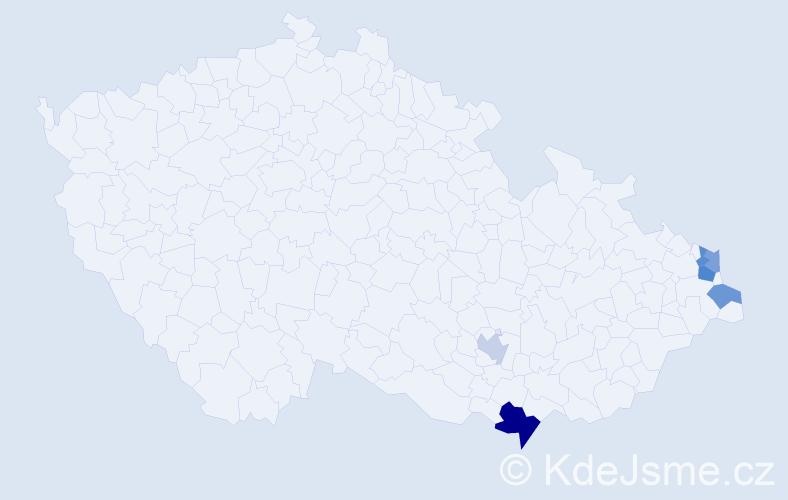 Příjmení: 'Bobrzyk', počet výskytů 9 v celé ČR