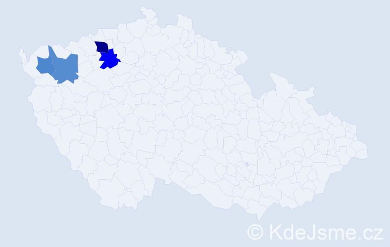 Příjmení: 'Čarnožický', počet výskytů 5 v celé ČR