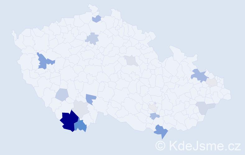 Příjmení: 'Jany', počet výskytů 32 v celé ČR