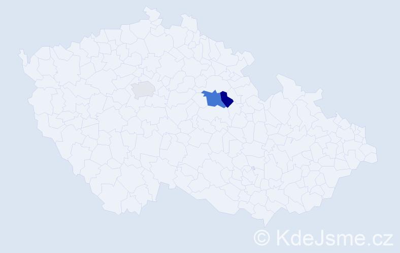 Příjmení: 'Hušinová', počet výskytů 5 v celé ČR