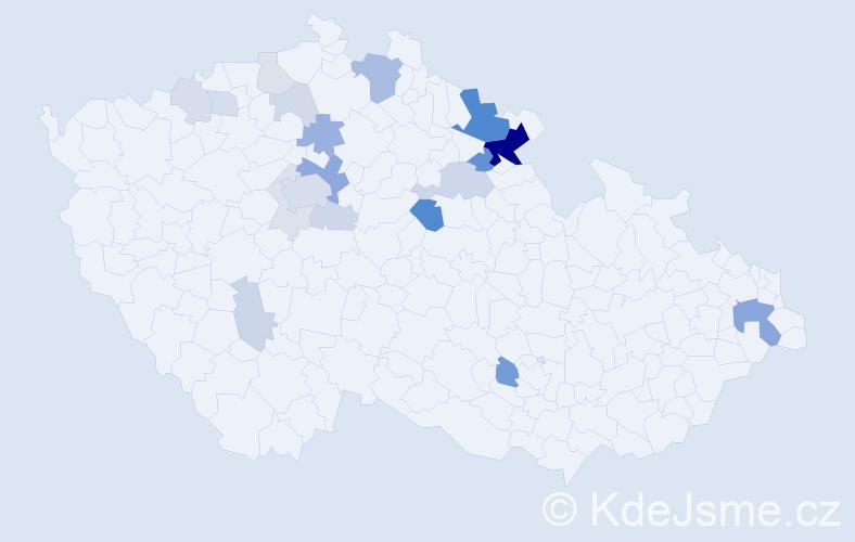 Příjmení: 'Kejdana', počet výskytů 64 v celé ČR