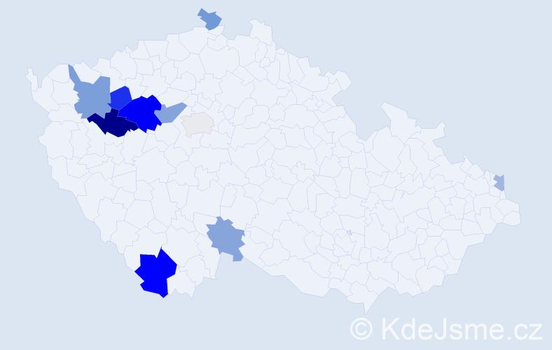Příjmení: 'Koperdáková', počet výskytů 18 v celé ČR