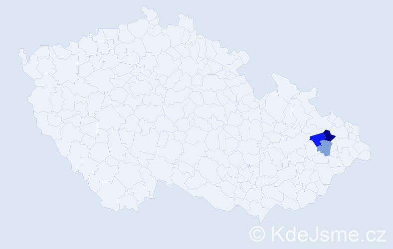 Příjmení: 'Hajchelová', počet výskytů 4 v celé ČR