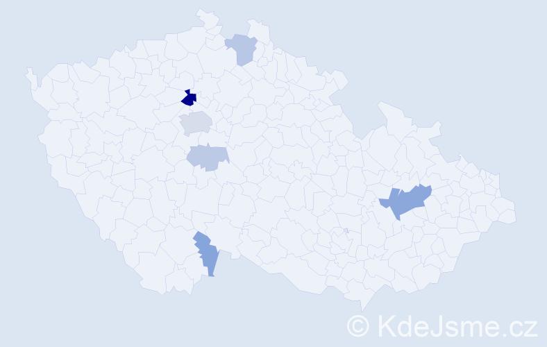 Příjmení: 'Hánková', počet výskytů 19 v celé ČR