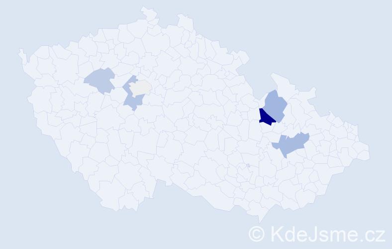 Příjmení: 'Chamlar', počet výskytů 15 v celé ČR