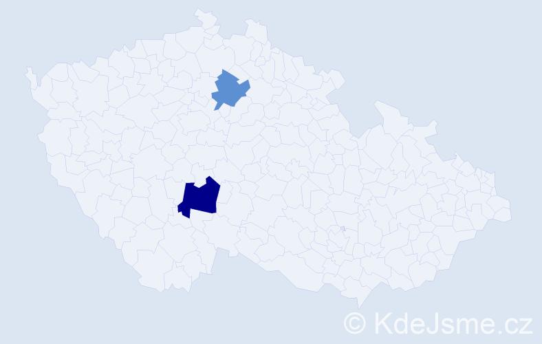 Příjmení: 'Kažmírová', počet výskytů 3 v celé ČR