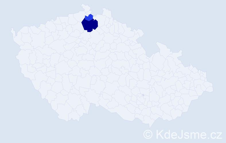 Příjmení: 'Gabrišek', počet výskytů 5 v celé ČR