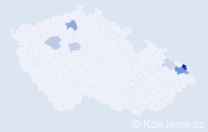 Příjmení: 'Jendřejčíková', počet výskytů 40 v celé ČR