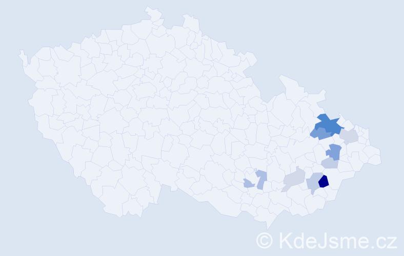 Příjmení: 'Imrýšková', počet výskytů 27 v celé ČR