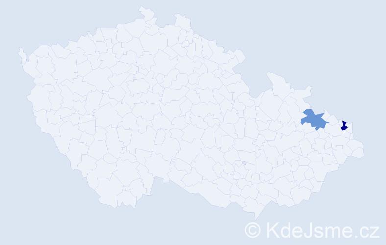 Příjmení: 'Csöböková', počet výskytů 5 v celé ČR