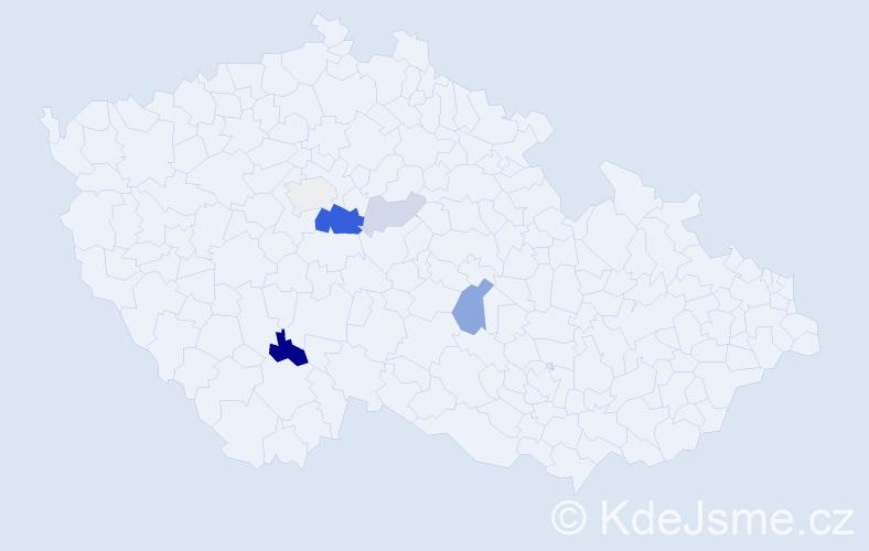Příjmení: 'Kajuk', počet výskytů 14 v celé ČR