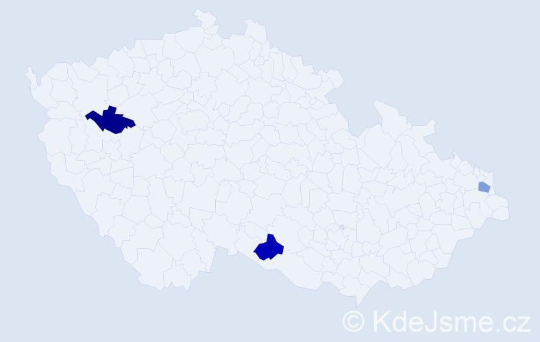 Příjmení: 'Komáček', počet výskytů 3 v celé ČR