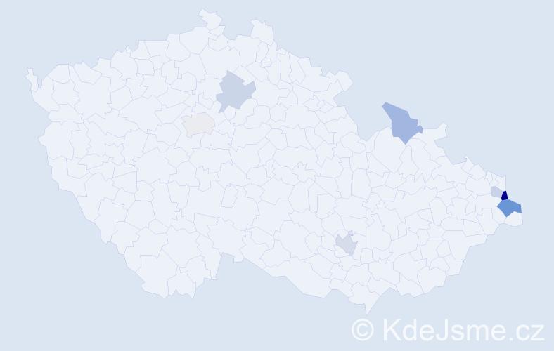 Příjmení: 'Ciupek', počet výskytů 13 v celé ČR