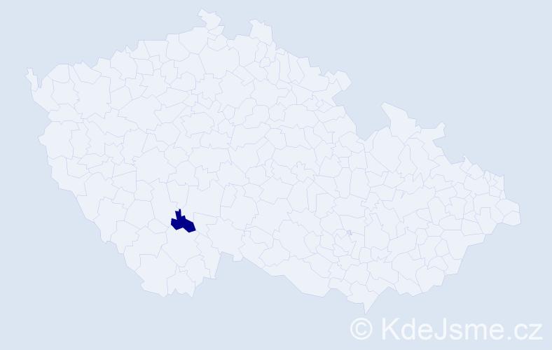 """Příjmení: '""""Čáp Příhodová""""', počet výskytů 1 v celé ČR"""