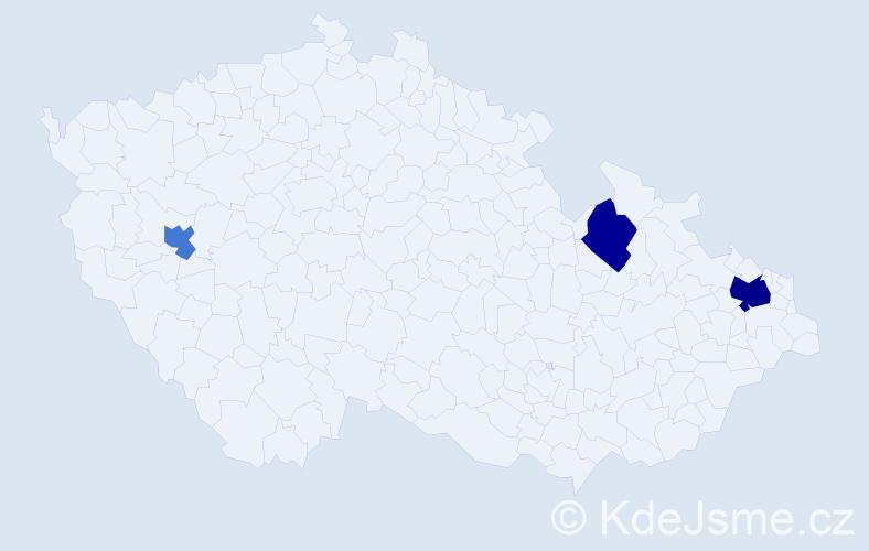 Příjmení: 'Décsi', počet výskytů 5 v celé ČR
