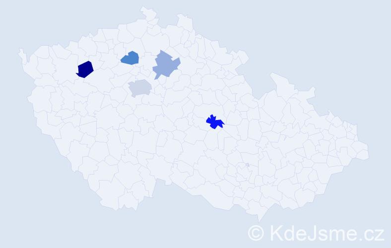 Příjmení: 'Chadím', počet výskytů 7 v celé ČR