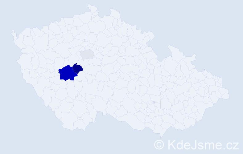 Příjmení: 'Gyárfásová', počet výskytů 5 v celé ČR