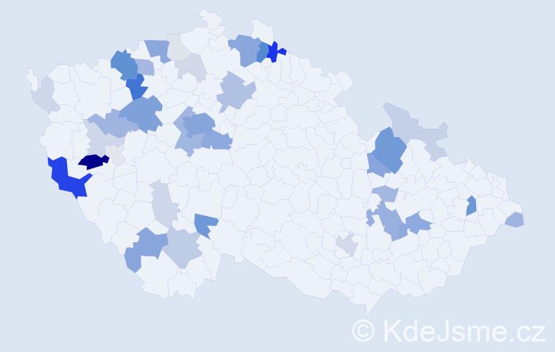 Příjmení: 'Engelová', počet výskytů 148 v celé ČR