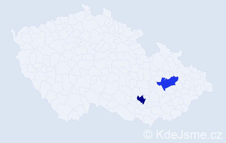 """Příjmení: '""""Abu-Ghanem""""', počet výskytů 4 v celé ČR"""