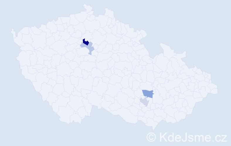 Příjmení: 'Kavín', počet výskytů 22 v celé ČR