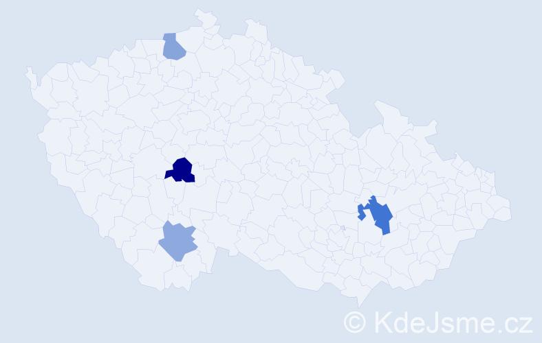 Příjmení: 'Kontrošová', počet výskytů 5 v celé ČR