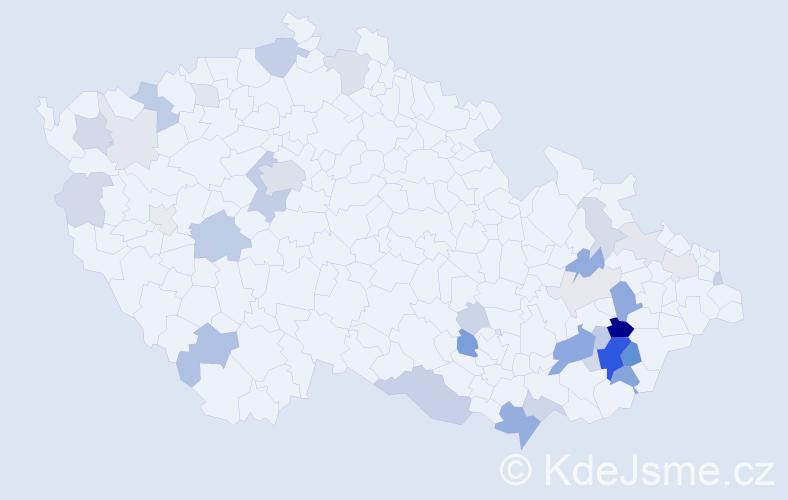 Příjmení: 'Huňa', počet výskytů 101 v celé ČR