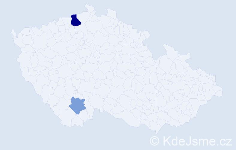 Příjmení: 'Badia', počet výskytů 4 v celé ČR
