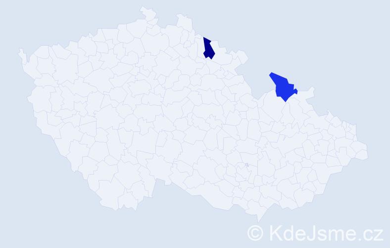 Příjmení: 'Kirjakovský', počet výskytů 4 v celé ČR