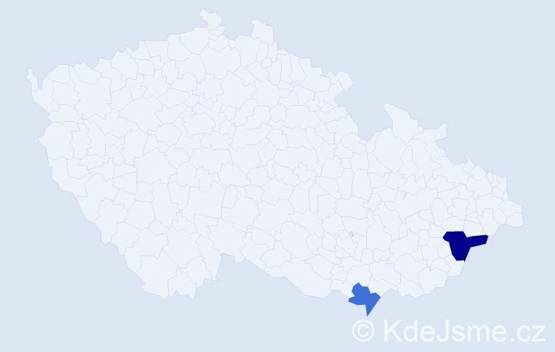 Příjmení: 'Gagerová', počet výskytů 3 v celé ČR