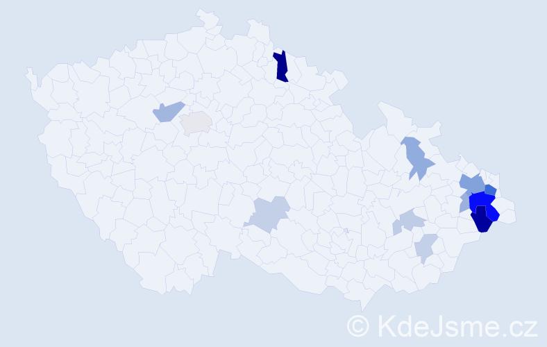 Příjmení: 'Čadan', počet výskytů 37 v celé ČR