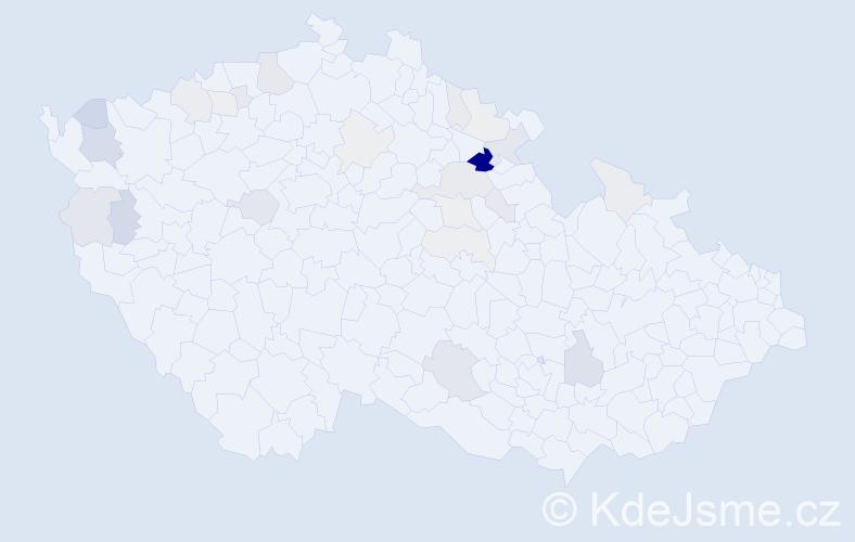 Příjmení: 'Bano', počet výskytů 84 v celé ČR
