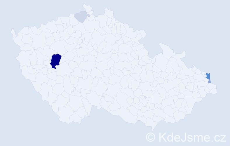 Příjmení: 'Gaherová', počet výskytů 17 v celé ČR