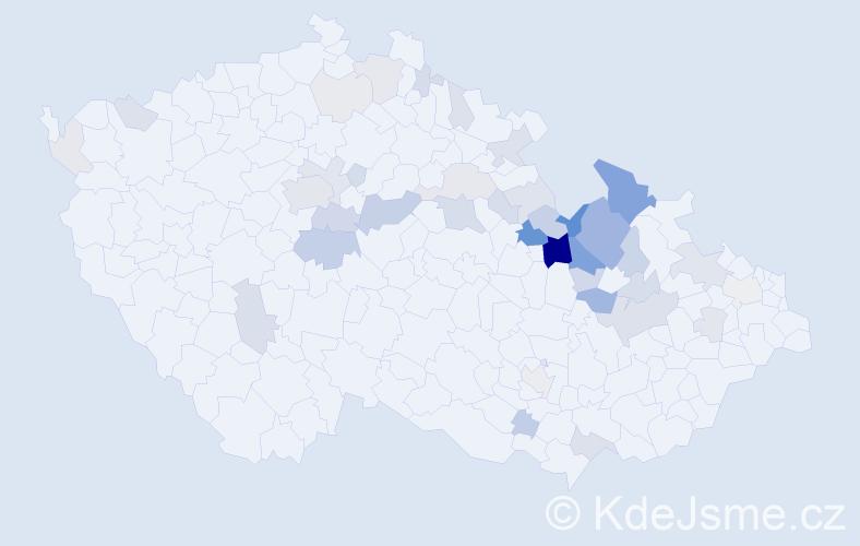 Příjmení: 'Kuběnková', počet výskytů 122 v celé ČR