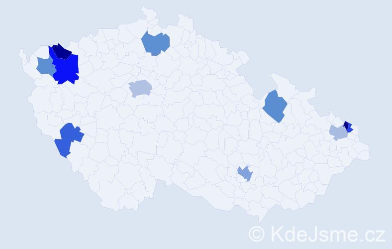 Příjmení: 'Čontošová', počet výskytů 15 v celé ČR