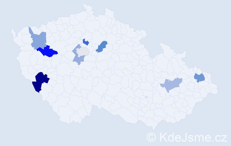 Příjmení: 'Beníková', počet výskytů 14 v celé ČR