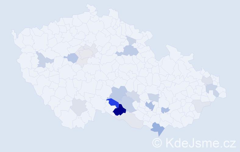 Příjmení: 'Ellingerová', počet výskytů 77 v celé ČR