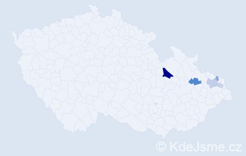 Příjmení: 'Hackenbergerová', počet výskytů 11 v celé ČR