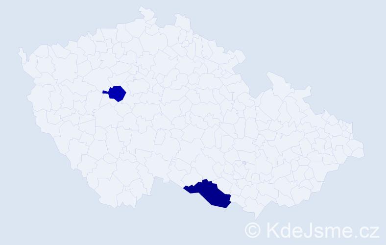 Příjmení: 'Iliaš', počet výskytů 5 v celé ČR