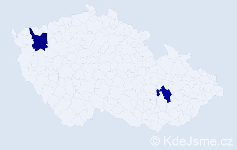 Příjmení: 'Gošev', počet výskytů 2 v celé ČR