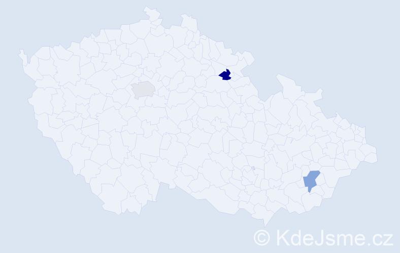 Příjmení: 'Bačavčík', počet výskytů 3 v celé ČR