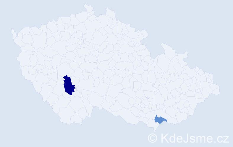 Příjmení: 'Faragula', počet výskytů 6 v celé ČR