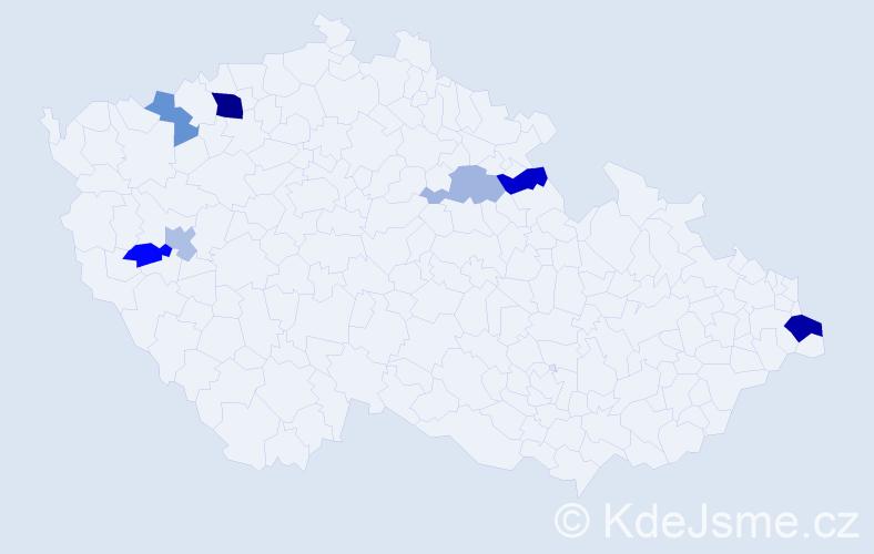 Příjmení: 'Cebová', počet výskytů 12 v celé ČR