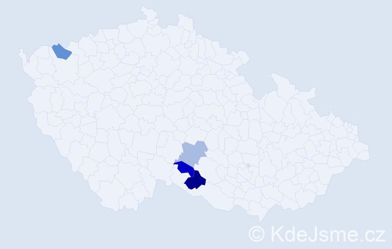 Příjmení: 'Krivenská', počet výskytů 5 v celé ČR