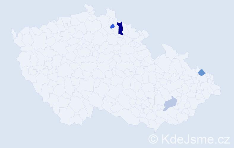Příjmení: 'Dikorasová', počet výskytů 7 v celé ČR