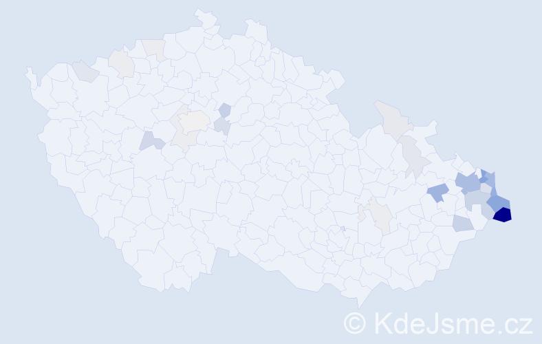 Příjmení: 'Grochol', počet výskytů 124 v celé ČR