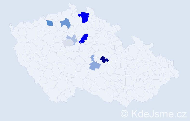 Příjmení: 'Komrzý', počet výskytů 23 v celé ČR