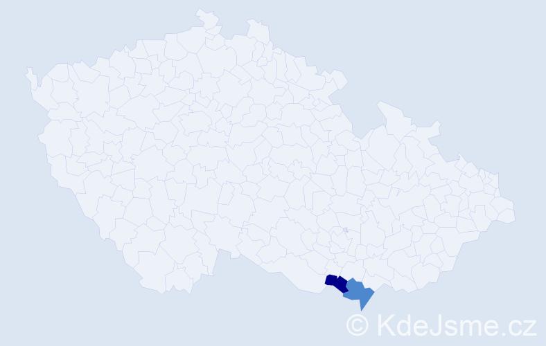Příjmení: 'Čúlenová', počet výskytů 5 v celé ČR