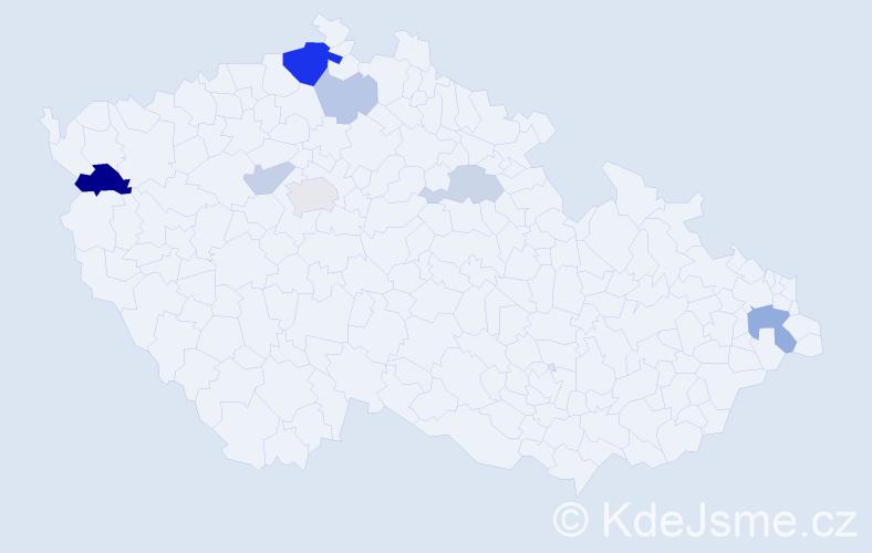 Příjmení: 'Kaletusová', počet výskytů 16 v celé ČR