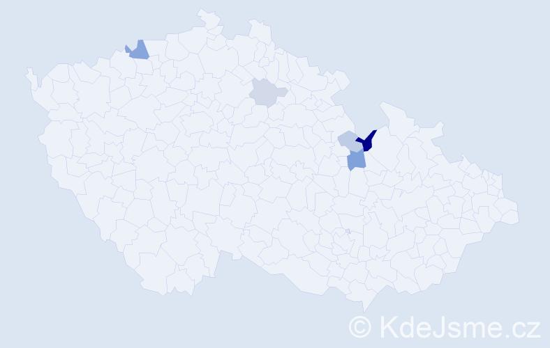 Příjmení: 'Dancso', počet výskytů 10 v celé ČR